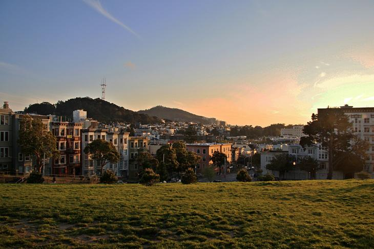 Alamo Square at sunset / Alamo Square bei Sonnenuntergang