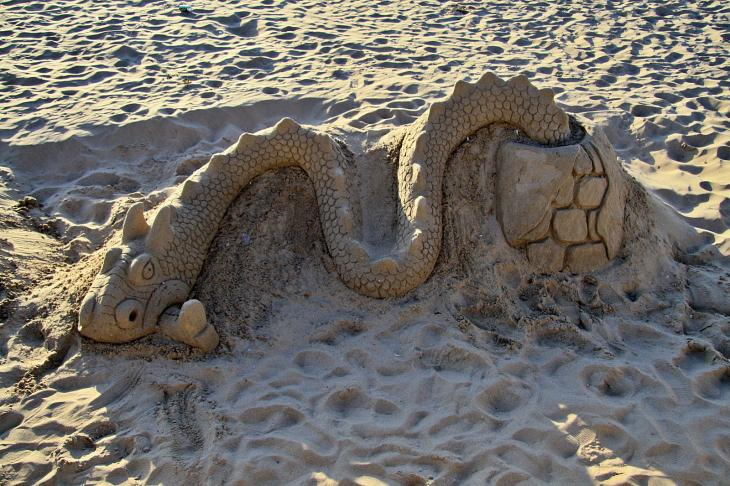 Sand art at the Morecambe beach
