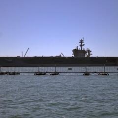 A nuclear-powered aircraft supercarrier (from really far away)