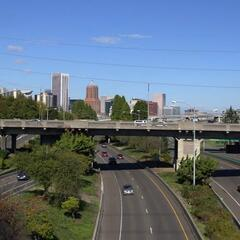 Interstate 5 as seen from Gibbs Street Pedestrian Bridge
