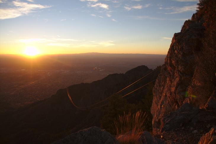 Sandia Peak Tramway at sunset