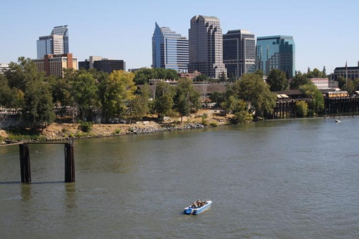 View from I Street Bridge in Sacramento