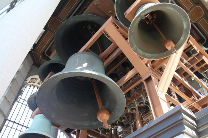 Bells of the carillon inside the Sather Tower, UC Berkeley